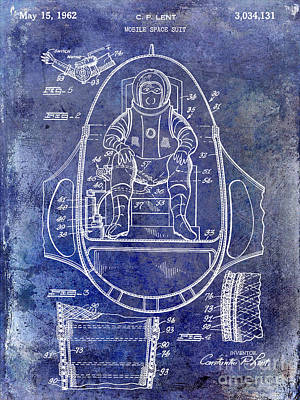 Outer Space Photograph - 1962 Mobile Space Suit Patent Blue by Jon Neidert