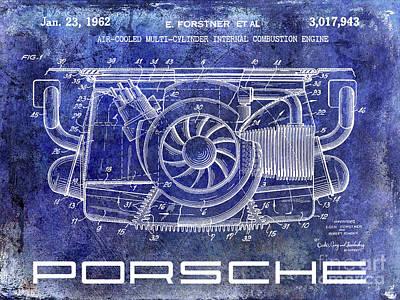 1962 Porsche Engine Patent Blue Art Print