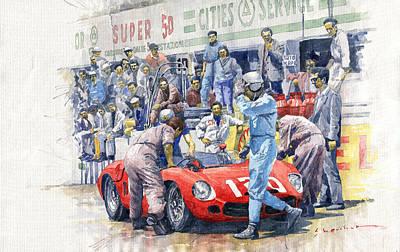 Painting - 1962 Targa Florio Ferrari Dino 196sp Bandini Baghnetti by Yuriy Shevchuk
