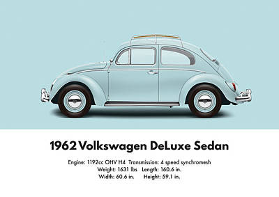 Bug Digital Art - 1962 Volkswagen Deluxe Sedan - Pacific Blue by Ed Jackson