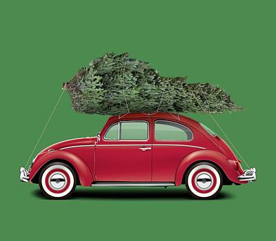 Bug Digital Art - 1962 Volkswagen Deluxe Sedan - Ruby Red W/ Christmas Tree by Ed Jackson