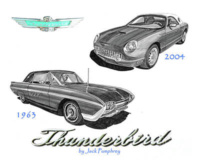 Drawing - 1963 And 2004 Thunderbirds by Jack Pumphrey