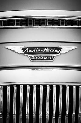 Photograph - 1963 Austin-healey 3000 Mk II Black And White by Jill Reger