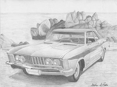 Buick Drawing - 1963 Buick Riviera Classic Car Art Print by Stephen Rooks