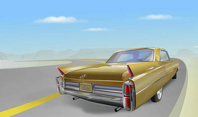 1963 Cadillac De Ville Art Print by Marty Garland