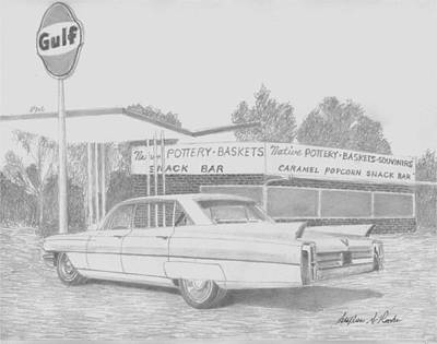 Automotive Art Series Wall Art - Drawing - 1963 Cadillac Series 62 Classic Car Art Print by Stephen Rooks