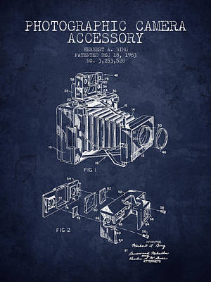 Distressed Drawing - 1963 Camera Patent - Navy Blue - Nb by Aged Pixel