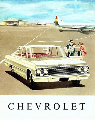Painting - 1963 Chevrolet Brochure Front View by R Muirhead Art