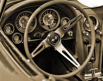 Photograph - 1963 Chevrolet Corvette Steering Wheel - Sepia by Gordon Dean II