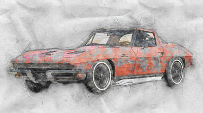 Transportation Mixed Media - 1963 Chevrolet Corvette Sting Ray 1 - 1963 - Automotive Art - Car Posters by Studio Grafiikka
