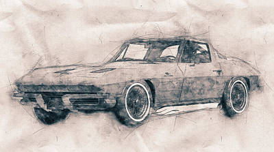 Transportation Mixed Media - 1963 Chevrolet Corvette Sting Ray - 1963 - Automotive Art - Car Posters by Studio Grafiikka