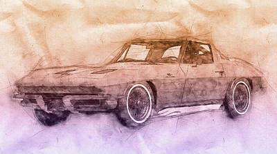 Mixed Media Royalty Free Images - 1963 Chevrolet Corvette Sting Ray 2 - 1963 - Automotive Art - Car Posters Royalty-Free Image by Studio Grafiikka