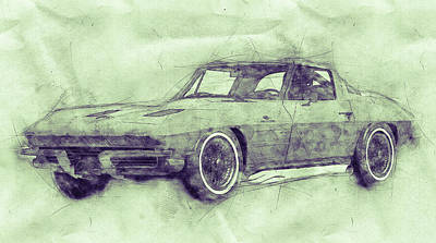Mixed Media Royalty Free Images - 1963 Chevrolet Corvette Sting Ray 3 - 1963 - Automotive Art - Car Posters Royalty-Free Image by Studio Grafiikka