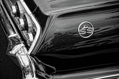 1963 Chevrolet Impala Ss Black And White Original by Gordon Dean II