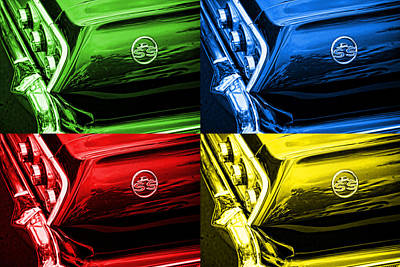 1963 Chevy Impala Ss - Pop Art - Green Blue Red Yellow Art Print