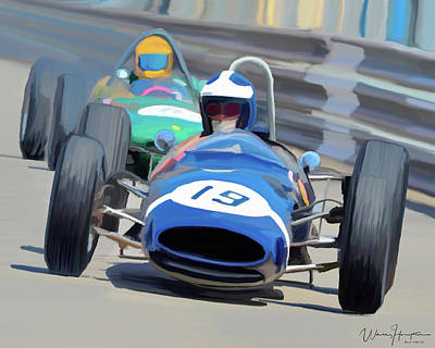 Painting - 1963 Cooper T66 Coming Out Of Monaco's Mirabeau by Wally Hampton