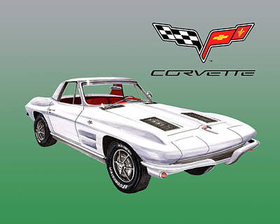 Painting - 1963 Corvette Roadster Tee Shirt Art by Jack Pumphrey
