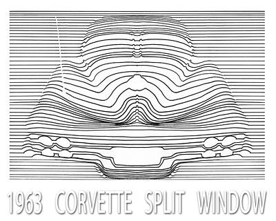 Drawing - Wavy Line 63 Corvette Split Window Abstract by Jack Pumphrey