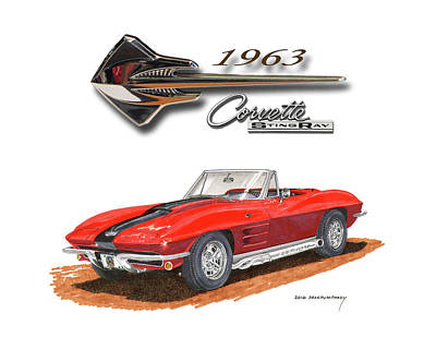 Painting - 1963 Corvette Stingraw Roadster by Jack Pumphrey