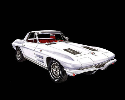 Painting - 1963 Corvette Stingray Convert by Jack Pumphrey