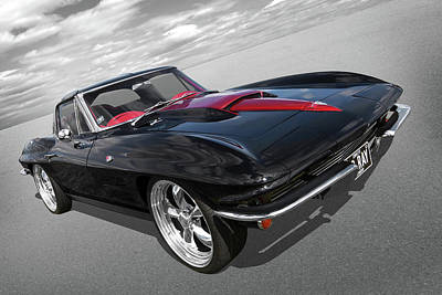 Photograph - 1963 Corvette Stingray Split Window In Black And Red by Gill Billington