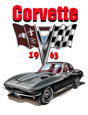 Art Print featuring the mixed media 1963 Corvette With Split Rear Window by Thomas J Herring
