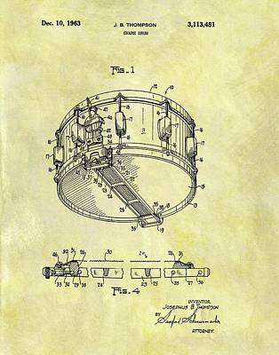 Musicians Drawings - 1963 Drum Patent by Dan Sproul