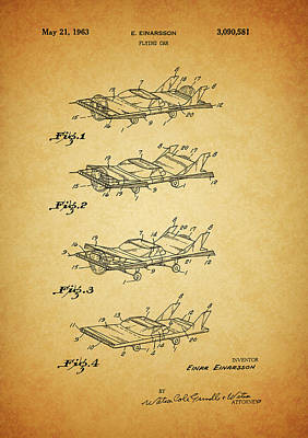 Science Fiction Mixed Media - 1963 Flying Car Patent by Dan Sproul