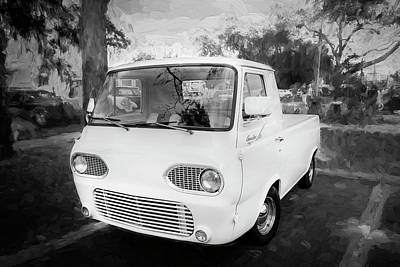 Pickup Truck Door Photograph - 1963 Ford Econoline Truck Bw  by Rich Franco