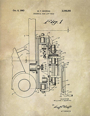 Mixed Media - 1963 Lift Truck Patent by Dan Sproul