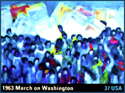 United States Postage Painting - 1963 March On Washington by Lanjee Chee