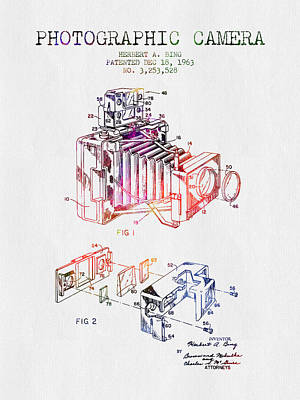 Camera Digital Art - 1963 Photographic Camera Patent - Color by Aged Pixel