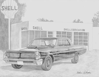 Super Cars Drawing - 1963 Pontiac Catalina 421 Super Duty Classic Car Art Print by Stephen Rooks