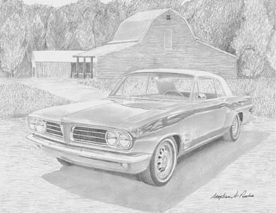 Pontiac Drawing - 1963 Pontiac Tempest Classic Car Art Print by Stephen Rooks