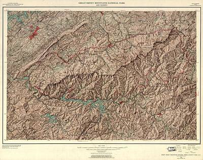 Tennessee Map Drawing - 1963 Smoky Mountains Map by Dan Sproul