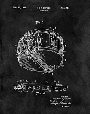 Musicians Drawings - 1963 Snare Drum Patent by Dan Sproul