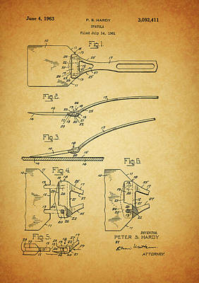 Culinary Mixed Media - 1963 Spatula Patent by Dan Sproul