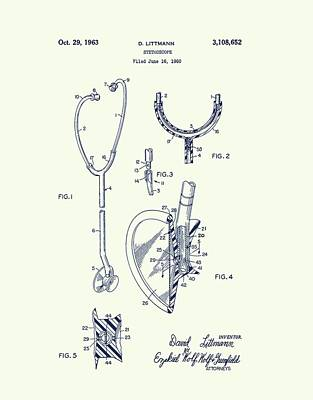 Drawing - 1963 Stethoscope Design by Dan Sproul