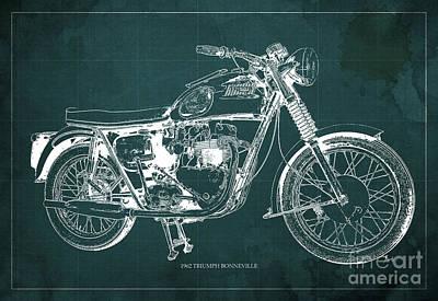 Hombre Drawing - 1963 Triumph Bonneville, Blueprint Green Background by Pablo Franchi