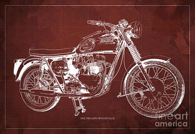 Bike Drawing - 1963 Triumph Bonneville, Blueprint Red Background by Pablo Franchi