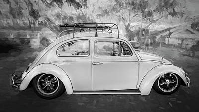 Photograph - 1963 Volkswagen Beetle Vw Bug Bw by Rich Franco