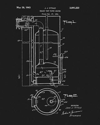 Mixed Media - 1963 Water Heater Patent by Dan Sproul