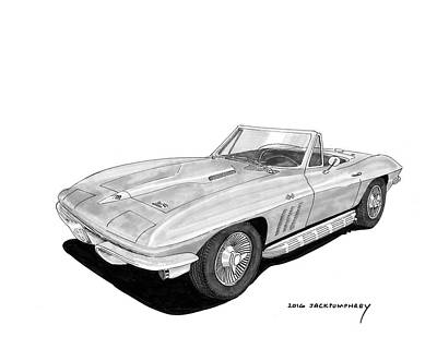 Painting - 1964 65 Corvette Roadster by Jack Pumphrey