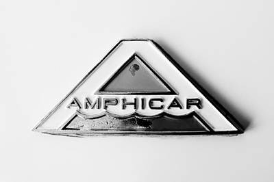 Car Emblem Photograph - 1964 Amphicar Model 770 Emblem -0411bw by Jill Reger