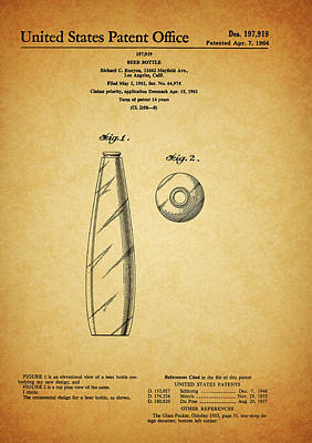 Drawing - 1964 Beer Bottle Patent by Dan Sproul