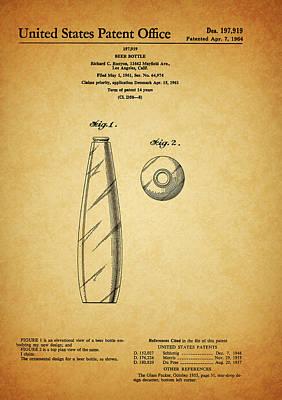 Beer Drawings - 1964 Beer Bottle Patent by Dan Sproul