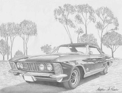 Buick Drawing - 1964 Buick Riviera Classic Car Art Print by Stephen Rooks