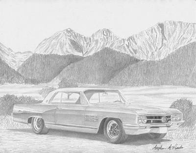 Buick Drawing - 1964 Buick Wildcat Classic Car Art Print by Stephen Rooks