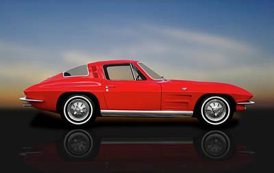 Photograph - 1964 C2 Chevrolet Corvette  -  1964corvettefastbackrflct184368 by Frank J Benz
