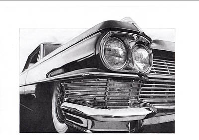 Still Life Drawings - 1964 Cadillac by James Robert